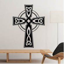 Religion Christianity Belief Church Black Holy Cross Circle Culture Design Art Illustration Pattern Silhouette Removable Wall Sticker Art Decals Mural DIY Wallpaper for Room Decal