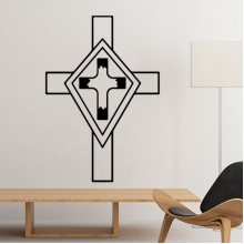 Religion Church Holy Christianity Belief Black Cross Culture Design Art Illustration Pattern Silhouette Removable Wall Sticker Art Decals Mural DIY Wallpaper for Room Decal