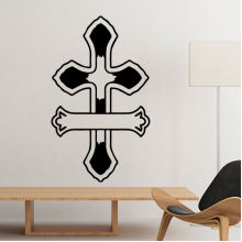 Religion Holy Belief Christianity Church Black Cross Culture Design Art Illustration Pattern Silhouette Removable Wall Sticker Art Decals Mural DIY Wallpaper for Room Decal