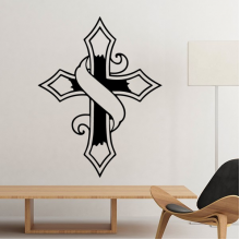 Religion Christianity Belief Church Black Banner Holy Cross Culture Design Art Illustration Pattern Silhouette Removable Wall Sticker Art Decals Mural DIY Wallpaper for Room Decal