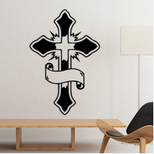 Religion Christianity Belief Church Black Holy Cross Banner Culture Design Art Illustration Pattern Silhouette Removable Wall Sticker Art Decals Mural DIY Wallpaper for Room Decal
