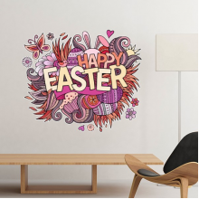 Happy Easter Religion Christianity Festival Red Pink Purple Flower Butterfly Colored Egg Bunny Design Culture Illustration Pattern Removable Wall Sticker Art Decals Mural DIY Wallpaper for Room Decal