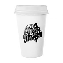 Air Pollution Graffiti Style Gas Mask Army Silhouette illustration Haze PM2.5 Environmental Protection Topics Classic Mug White Pottery Ceramic Cup Milk Coffee Cup 350 ml