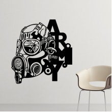Air Pollution Graffiti Style Gas Mask Army Silhouette illustration Haze PM2.5 Environmental Protection Topics Silhouette  Removable Wall Sticker Art Decals Mural DIY Wallpaper for Room Decal