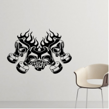 Air Pollution Graffiti Style Gas Mask Silhouette illustration Haze PM2.5 Environmental Protection Topics Silhouette  Removable Wall Sticker Art Decals Mural DIY Wallpaper for Room Decal