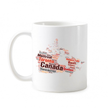Cananda Map with City Names and Landmarks Colorful Pattern Classic Mug White Pottery Ceramic Cup Milk Coffee With Handles 350 ml