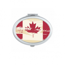 Canada Flavor Canandian Flag and Maple Leaf Beige and Red Pattern Oval Compact Makeup Pocket Mirror Portable Cute Small Hand Mirrors