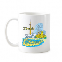 Canada Flavor Toronto Scenery and Landmark Watercolor Pattern Classic Mug White Pottery Ceramic Cup Milk Coffee With Handles 350 ml