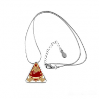 Graffiti Street Culture Red Yellow Star Communism Design Art Illustration Pattern Triangle Shape Pendant Necklace Jewelry With Chain Decoration