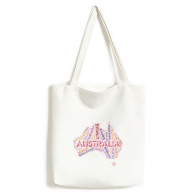 Australia Flavor Map with State and City Names and Scenic Spots Illustration Fashionable Design High Quality Canvas Bag Environmentally Tote Large Capacity Shopping Bags
