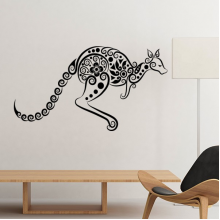 Australia Flavor Kangaroo Skeleton Illustration Pattern Silhouette Removable Wall Sticker Art Decals Mural DIY Wallpaper for Room Decal