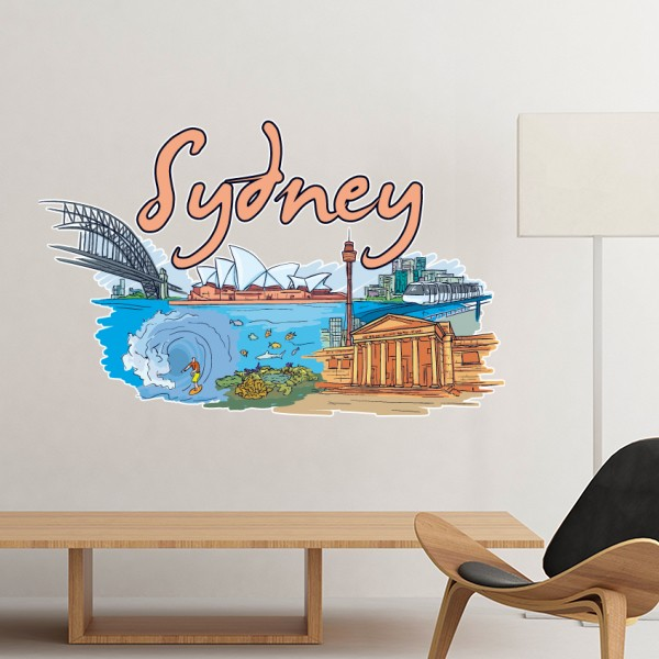 Australia City Landmark Sydney Opera House and Great Barrier Reef Watercolor Removable Wall Sticker Art Decals Mural DIY Wallpaper for Room Decal & Australia City Landmark Sydney Opera House and Great Barrier Reef ...