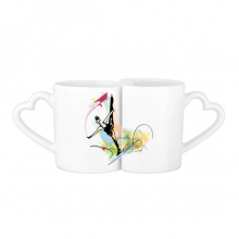 Winter Sport Figure Skating Female Athletes Skate Watercolor Sketch Illustration Lovers' Mug Lover Mugs Set White Pottery Ceramic Cup Milk Coffee Cup with Handles
