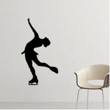 Winter Sport Female Figure Skating Retro Silhouette Pattern Silhouette  Removable Wall Sticker Art Decals Mural DIY Wallpaper for Room Decal