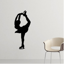 Winter Sport Female Figure Skating Silhouette Silhouette  Removable Wall Sticker Art Decals Mural DIY Wallpaper for Room Decal