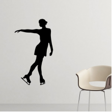 Winter Sport Female Figure Skating Dance Silhouette Pattern Silhouette  Removable Wall Sticker Art Decals Mural DIY Wallpaper for Room Decal