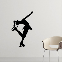 Winter Sport Female Figure Skating Silhouette Pattern Silhouette  Removable Wall Sticker Art Decals Mural DIY Wallpaper for Room Decal