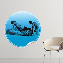 Winter Sport Skiing Skis and Boots Blue and White Watercolor Retro Illustration Removable Wall Sticker Art Decals Mural DIY Wallpaper for Room Decal