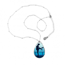 Winter Sport Female Figure Skating Retro Watercolor Illustration Teardrop Shape Pendant Necklace Jewelry With Chain Decoration