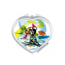 Winter Sport Synchronized Skiing Sports Freestyle Skiing Watercolor Sketch Illustration Heart Compact Makeup Pocket Mirror Portable Cute Small Hand Mirrors