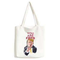 American President Trump Funny Interesting Angry President You Are Fired Ridiculous Spoof Cartoon Image Fashionable Design High Quality Canvas Bag Environmentally Tote Large Capacity Shopping Bags