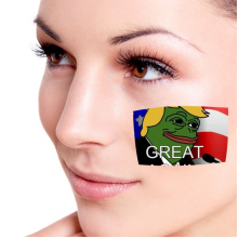 America American Sad Frog President Trump Funny Let's Make America Great Again Ridiculous Spoof Meme Image Temporary Tattoos Waterproof Tattoo Party Use Facial Decoration