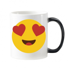 Adore Fever Love Yellow Cute Lovely Online Chat Emoji Illustration Pattern Morphing Heat Sensitive Changing Color Mug Cup Milk Coffee With Handles 350 ml