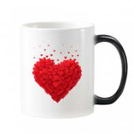 Valentine's Day White Heart Shaped Red Hearts Illustration Pattern Morphing Heat Sensitive Changing Color Mug Cup Milk Coffee With Handles 350 ml