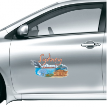 Australia City Landmark Sydney Opera House and Great Barrier Reef Watercolor Car Sticker on Car Styling Decal Motorcycle Stickers for Car Accessories
