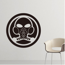 Air Pollution White Black For The Future Gas Mask Symbol Pattern Silhouette  Removable Wall Sticker Art Decals Mural DIY Wallpaper for Room Decal