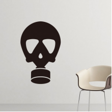 Contracted Pollution Environmental Protection Gas Mask Silhouette Pattern Silhouette  Removable Wall Sticker Art Decals Mural DIY Wallpaper for Room Decal