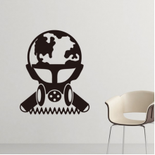 Air Pollution Environmental Protection Scientist Gas Mask Silhouette Pattern Silhouette  Removable Wall Sticker Art Decals Mural DIY Wallpaper for Room Decal