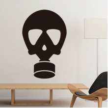 Black Human Skeleton Pollution Gas Mask Silhouette Pattern Silhouette Removable Wall Sticker Art Decals Mural DIY Wallpaper for Room Decal