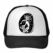 Abstract Ancient Egypt Pharaoh Decorative Pattern Sacrifice Art Silhouette Trucker Hat Baseball Cap Nylon Mesh Hat Cool Children Hat Adjustable Cap