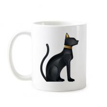 Ancient Egypt Abstract Decorative Pattern Sacrifice Black Cat Bast Bastet Art Pattern Classic Mug White Pottery Ceramic Cup Milk Coffee With Handles 350 ml