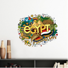 Ancient Egypt Flag Abstract Decorative Pattern Sacrifice Pyramid Sphinx Landmark Decoration Art Pattern Removable Wall Sticker Art Decals Mural DIY Wallpaper for Room Decal