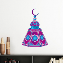 Islam Islamism Religion Arab Allah Faith Pilgrimage Purple Tower Totems Decoration Art Pattern Removable Wall Sticker Art Decals Mural DIY Wallpaper for Room Decal