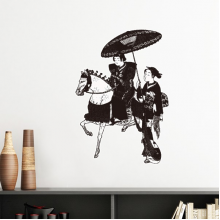 Japan Traditional Culture Black Kimono Women Riding Horse Umbrella Line Drawing Sketch Japanese Style Art Illustration Removable Wall Sticker Art Decals Mural DIY Wallpaper for Room Decal