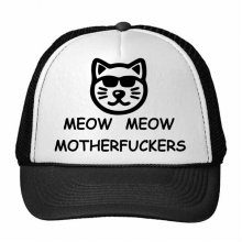 Animal Protector Pet Lover Pet Slave Comic Style Cartoon Meow Meow Motherfuckers Pattern Trucker Hat Baseball Cap Nylon Mesh Hat Cool Children Hat Adjustable Cap
