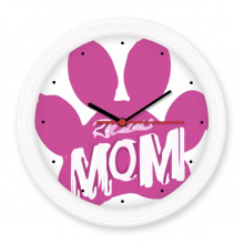 Animal Protector Pet Lover Pet Slave Comic Style Cartoon Pink Mom Pattern Silent Non-ticking Round Wall Decorative Clock Battery-operated Clocks Home Decal