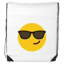 Sunglass Cool Yellow Cute Lovely Online Chat Emoji Illustration Pattern Drawstring Backpack Fine Lines Shopping Shoulder Environmental Polyester Bag