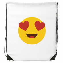 Adore Fever Love Yellow Cute Lovely Online Chat Emoji Illustration Pattern Drawstring Backpack Fine Lines Shopping Creative Handbag Shoulder Environmental Polyester Bag