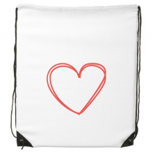 Valentine's Day Heart Shaped Red Hollow Double Lines Sketch Illustration Pattern Drawstring Backpack Fine Lines Shopping Shoulder Environmental Polyester Bag