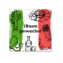 Mexico Culture Sketch Mexican Cuisine National Flag Food Round Shape Cactus Ceramic Bisque Tiles for Decorating Bathroom Decor Kitchen Ceramic Tiles Wall Tiles