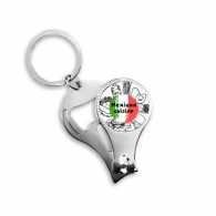 Mexico Culture Sketch Mexican Cuisine National Flag Round Shape Cactus Tropic Sketch Metal Key Chain Ring Multi-function Nail Clippers Bottle Opener Car Keychain Best Charm Gift