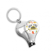 America New York City Taxi Statue of Liberty Illistration Nail Clipper Ring Key Chain