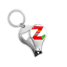 Z Alphabet Orange Fruit Cute Interesting Funny Illustration Pattern Metal Key Chain Ring Multi-function Nail Clippers Bottle Opener Car Keychain Best Charm Gift