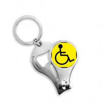 Warning Symbol Yellow Black Disabled Person Square Sign Mark Logo Notices Nail Clipper Ring Key Chain