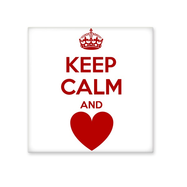 Quote Keep Calm And Love Red Crown Heart Funny Illustration Pattern ...