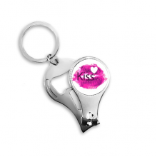 Valentine's Day Pink Lip-Shaped-Based Kiss Image with Heart Illustration Pattern Metal Key Chain Ring Multi-function Nail Clippers Bottle Opener Car Keychain Best Charm Gift